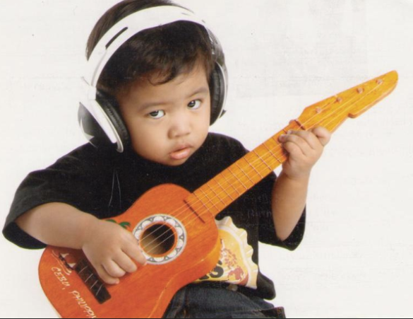 Cool little kid loves music